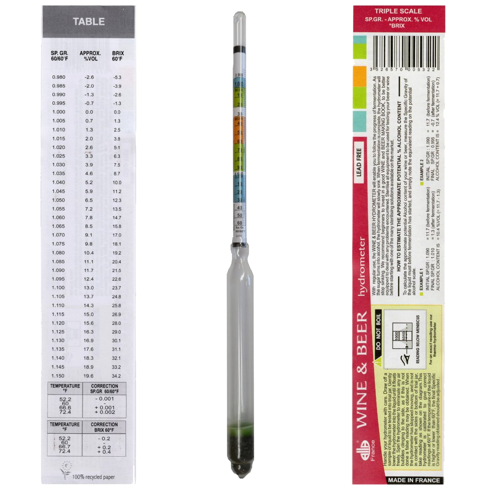 Hydrometer - Beer/Wine Triple Scale